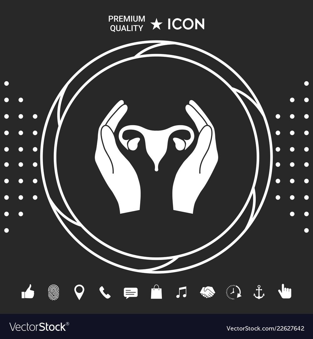 Hands holding female uterus - protection icon