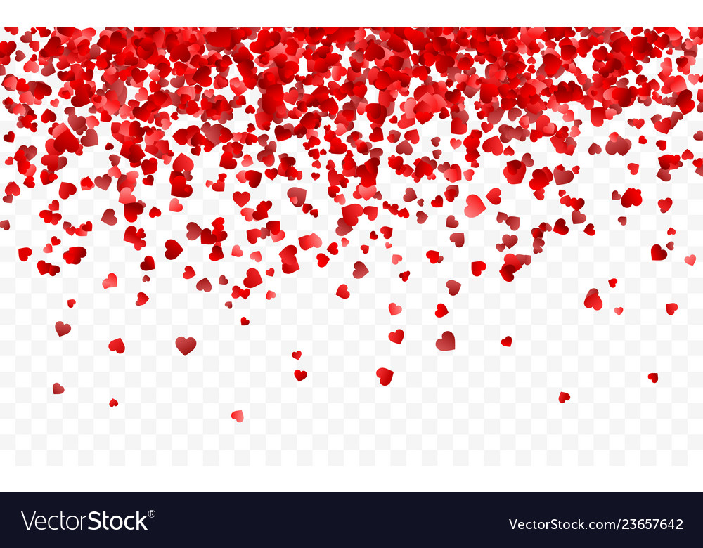 Realistic isolated heart confetti on the