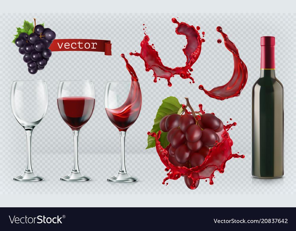 Red wine glasses bottle splash grapes 3d