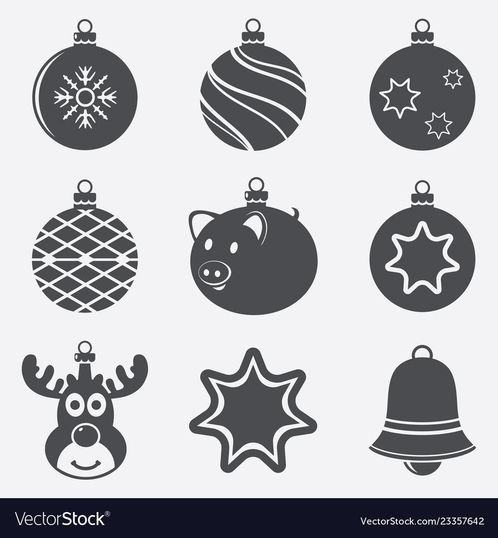 Set christmas balls icons
