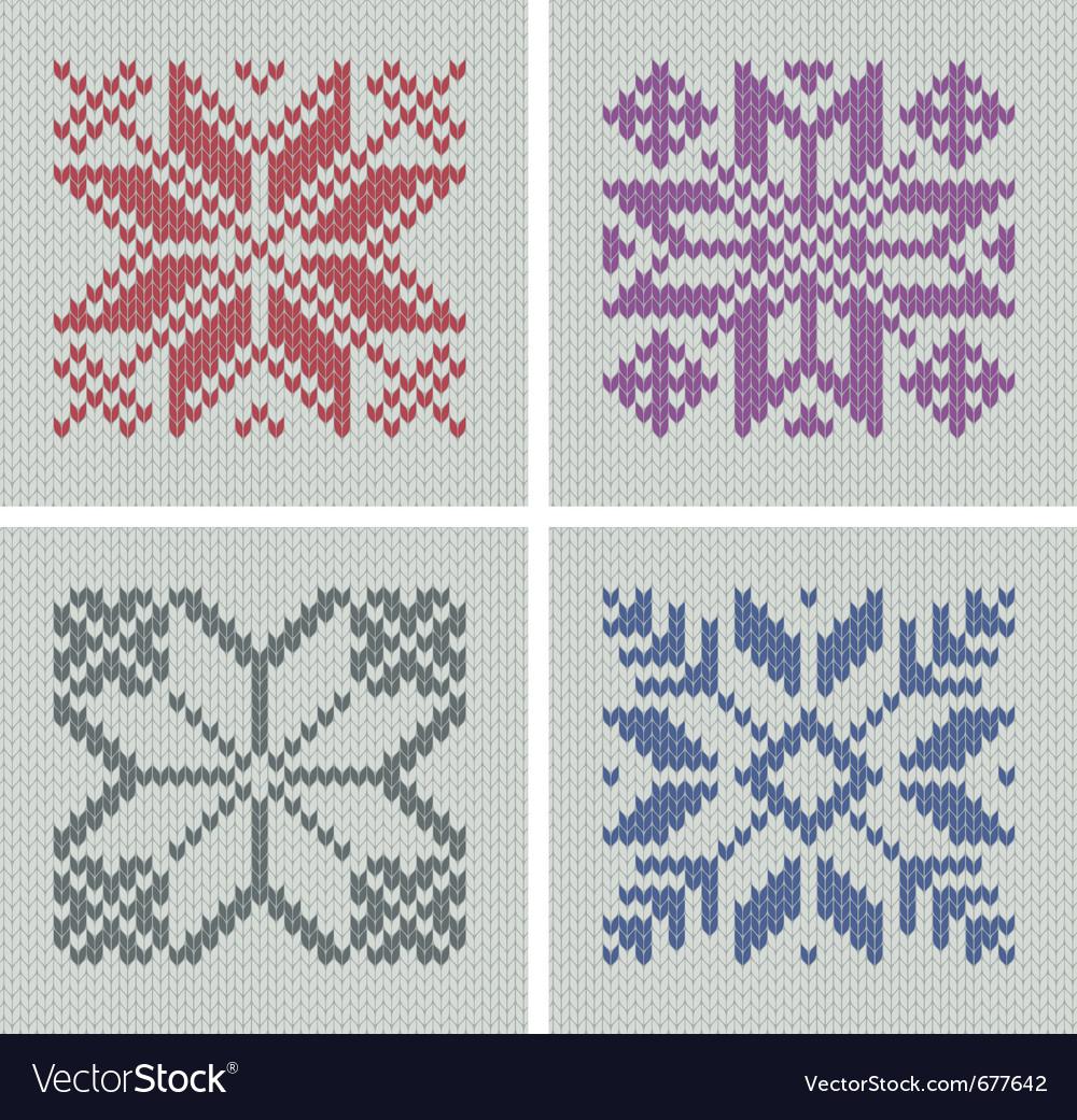 Set Of Norwegian Traditional Knitting Designs Vector Image