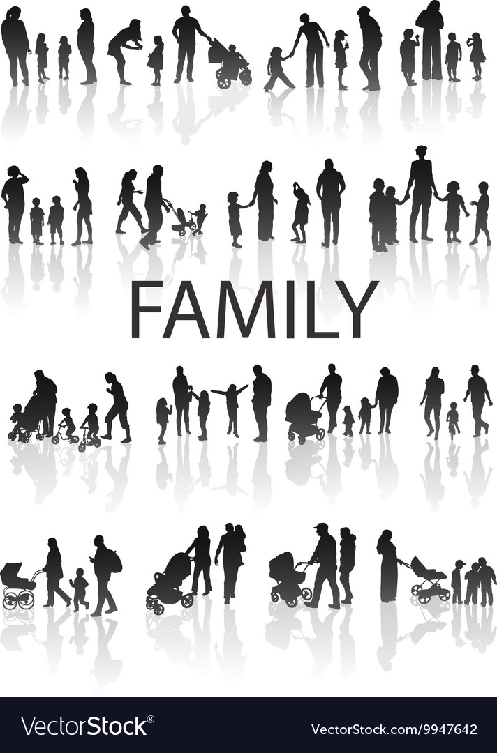 Set of very detailed Family Silhouettes