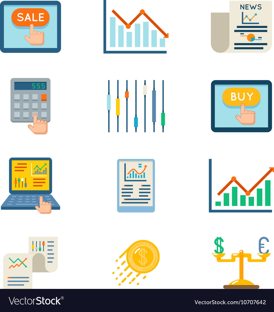 Stock flat icons Exchange signs and finance