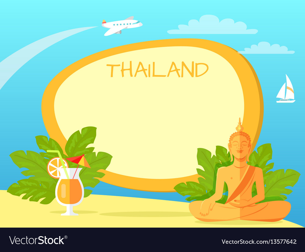 Thailand isle with buddha statue and cocktail