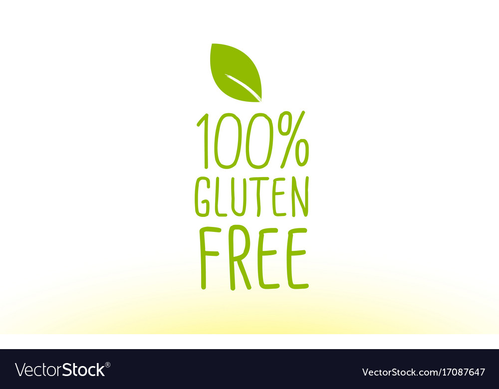 100 gluten free green leaf text concept logo icon