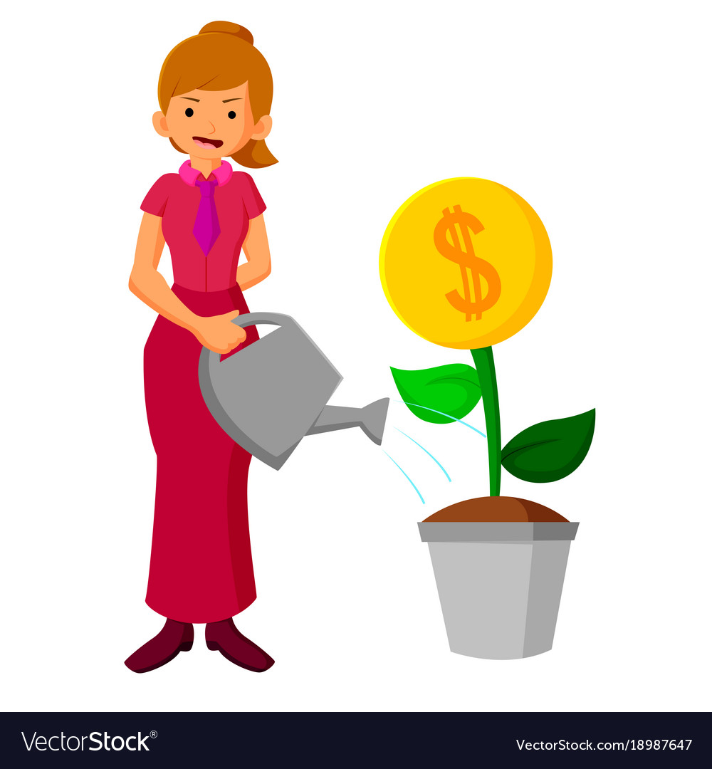 Business woman watering money flower vector image