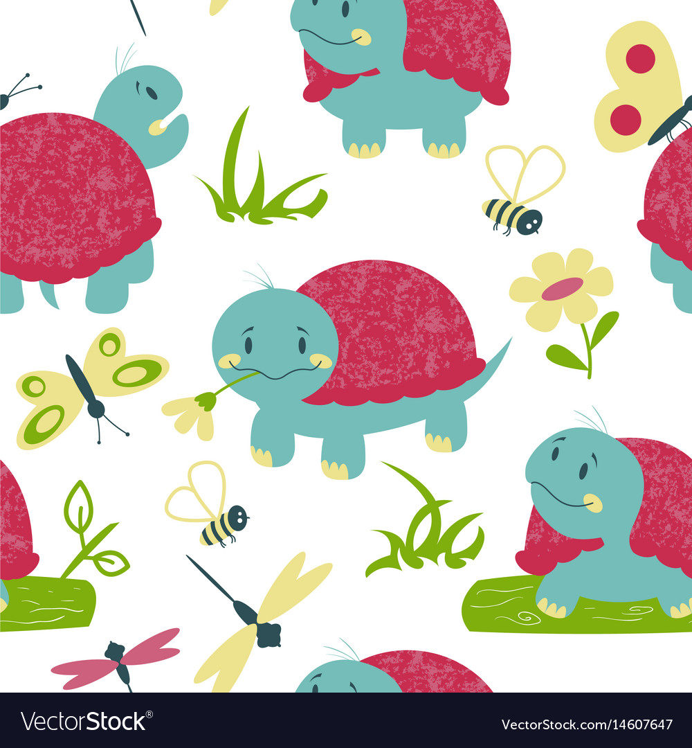 Cartoon turtles with insects seamless pattern