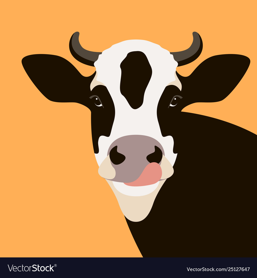 Cow face flat style front