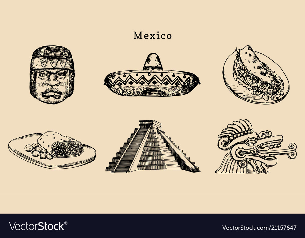 Drawn set of famous mexican attractions