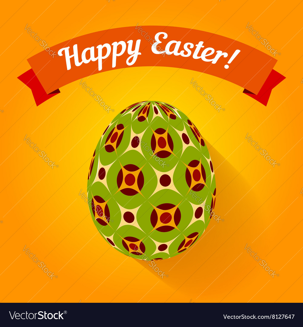 Easter card with eggs and banner