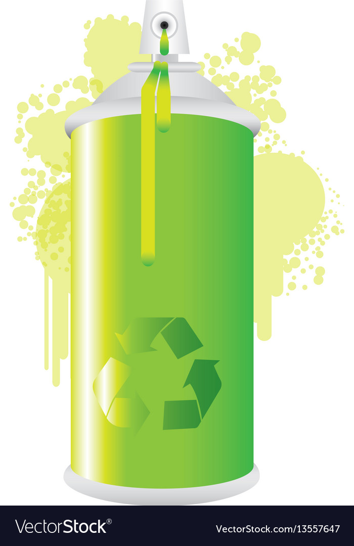 Eco aerosol spray metal with smoke green paint vector image