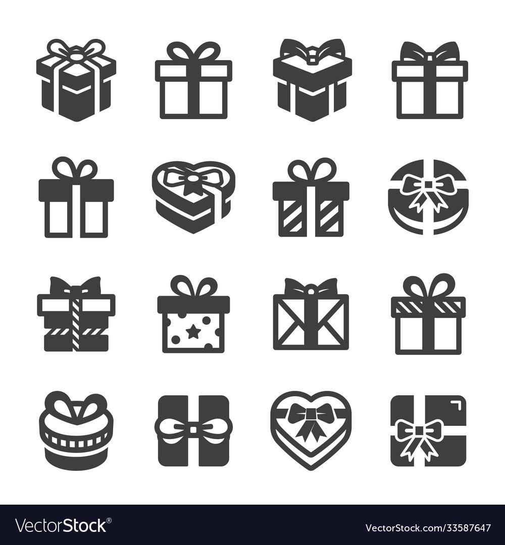 Gift box icon set black on white background
