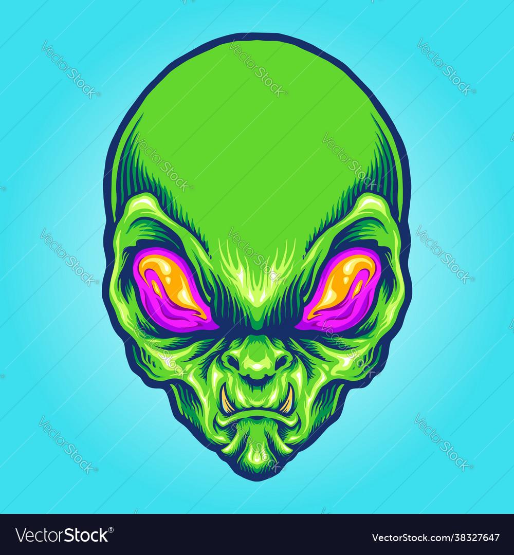 Green alien head angry mascot