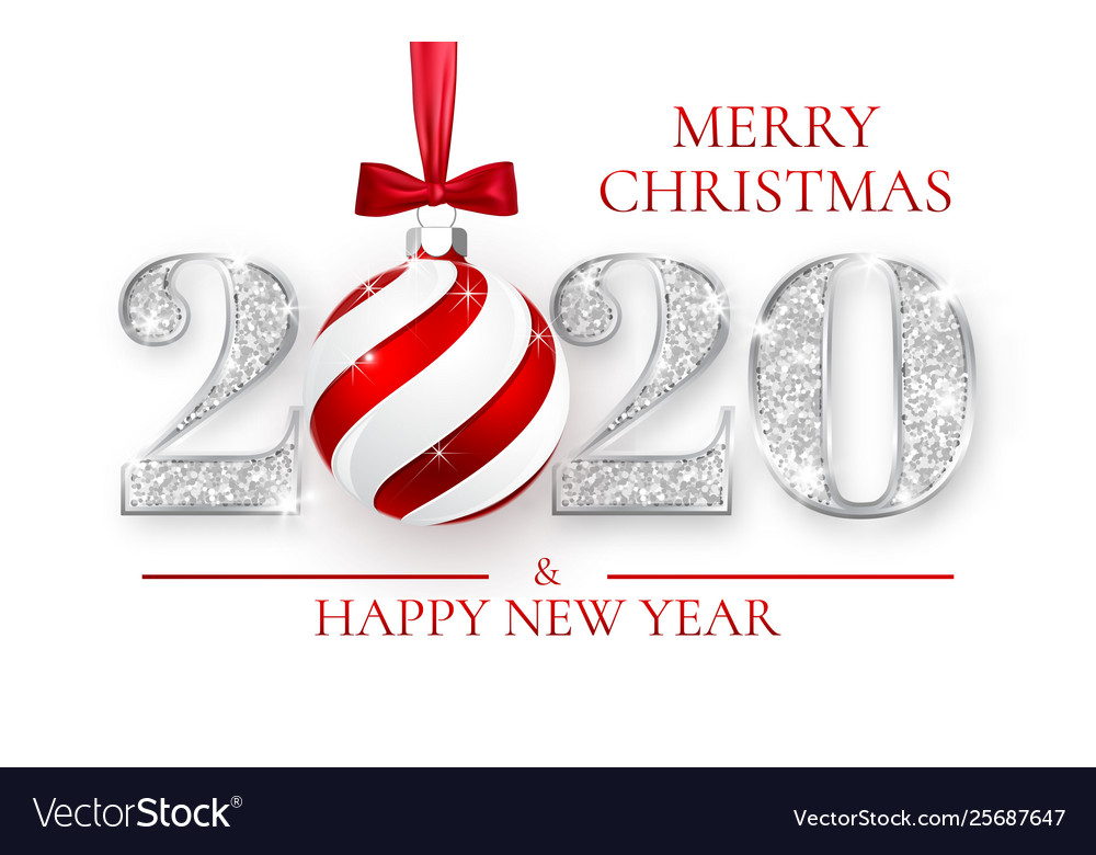 Christmas 2020 Silver Happy new year 2020 silver numbers design of Vector Image