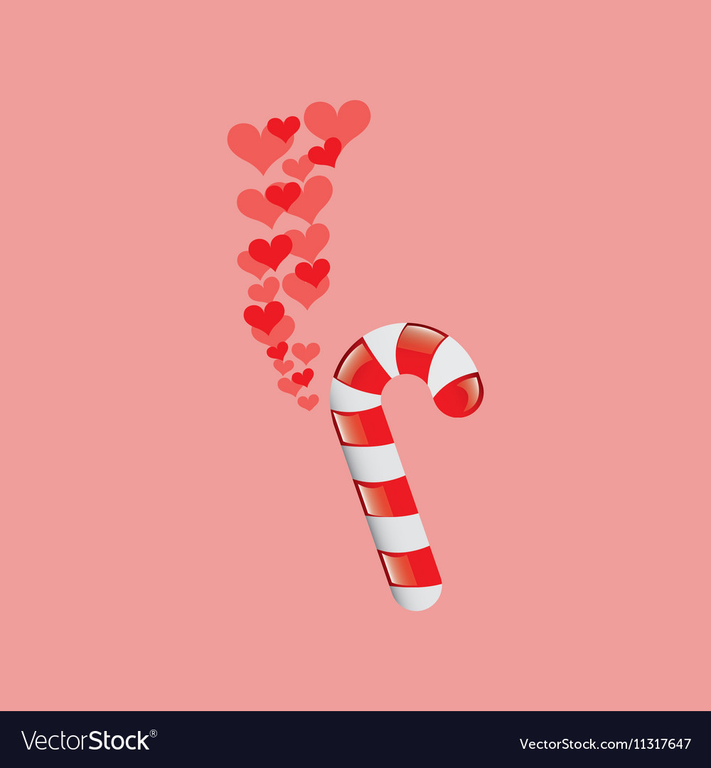 Heart cartoon candy cane sweet icon design