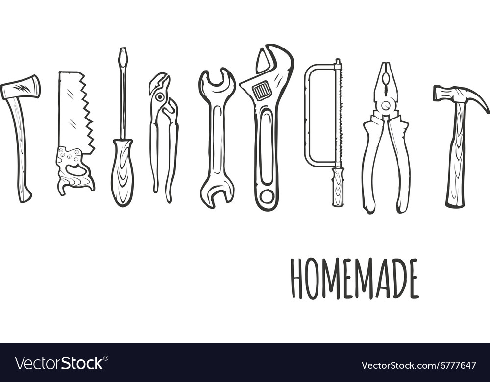 Homemade Hand tools Background Illsutration vector image