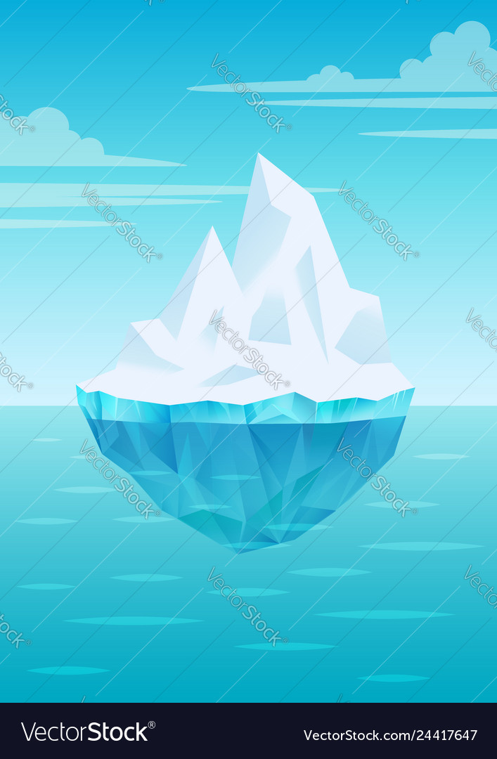 Iceberg floating on water waves with underwater