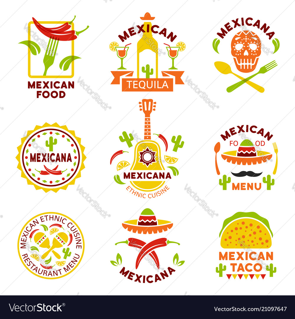 Mexican food logo labels emblems and badges