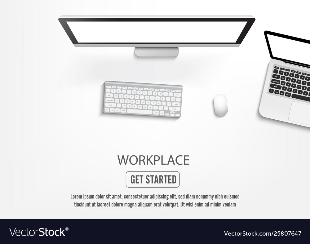Realistic workplace desktop top view desk table