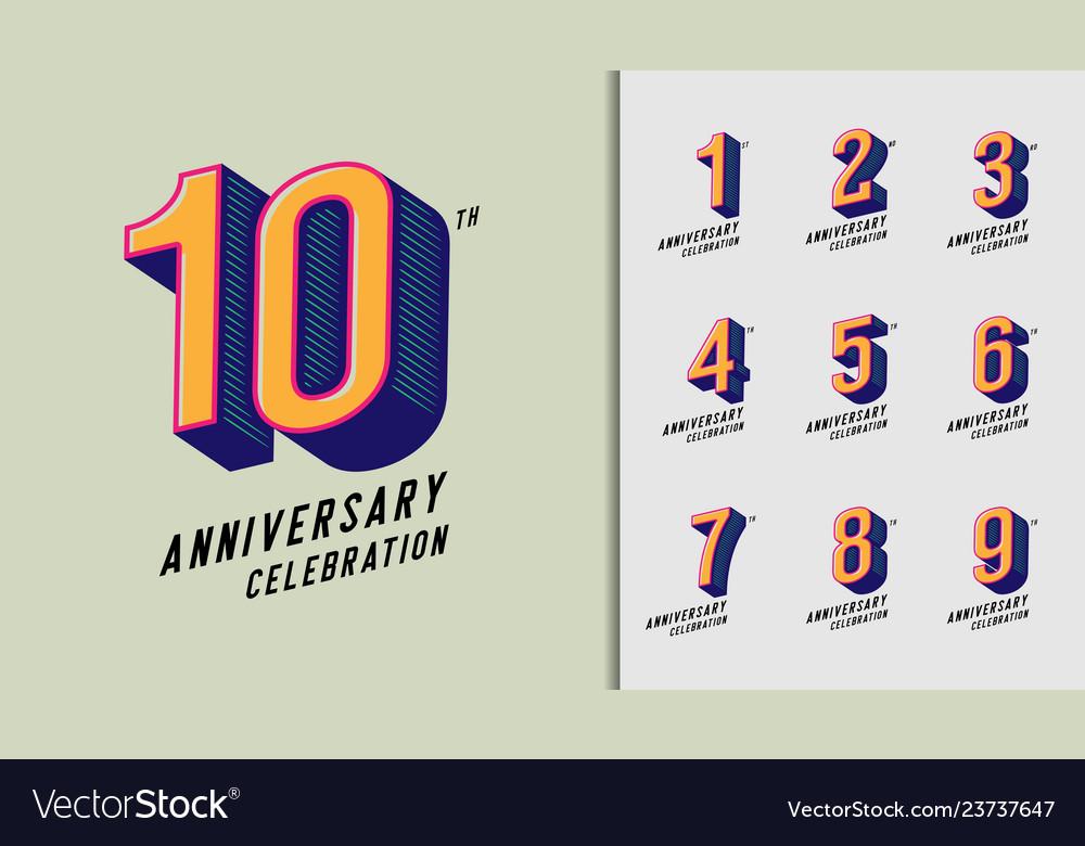 Set of anniversary logotype modern anniversary