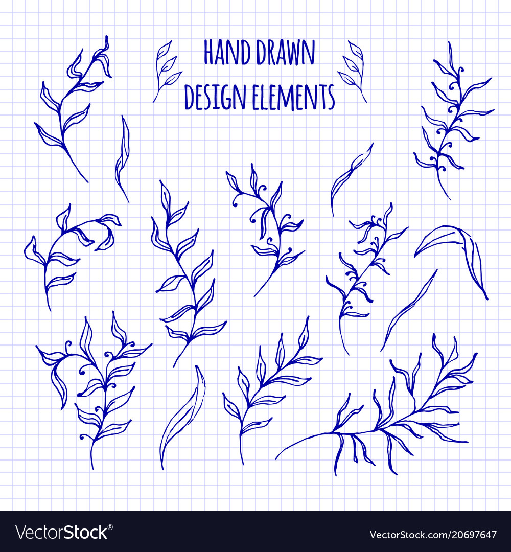 Set of hand-drawn doodle elements and seamless