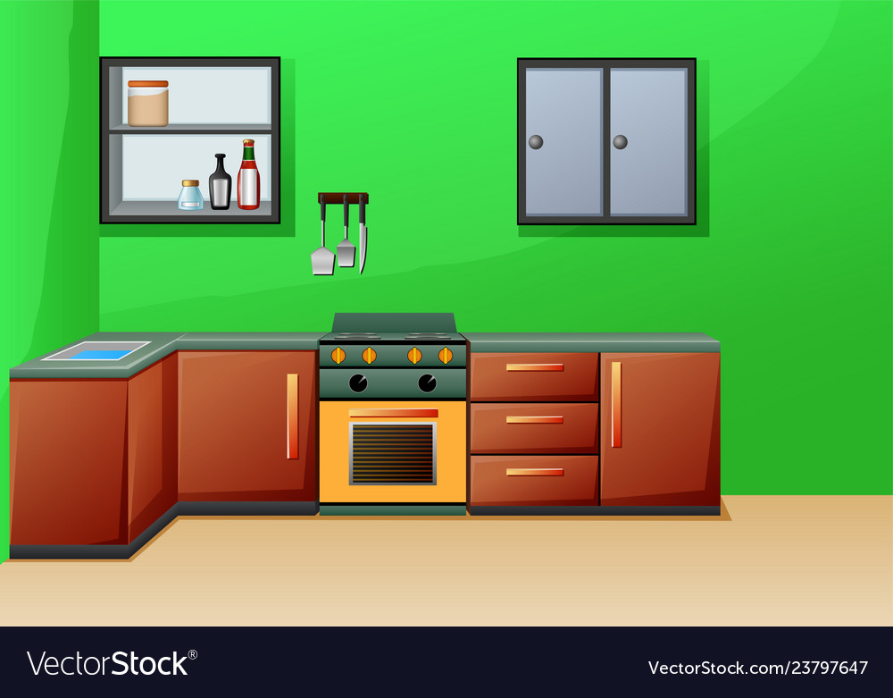 Simple Interior Kitchen With Furniture Royalty Free Vector