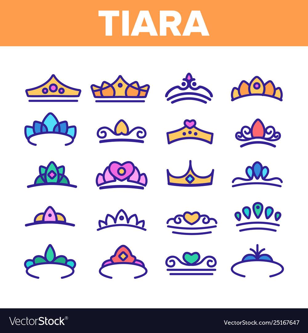 Tiara royal accessory thin line icons set