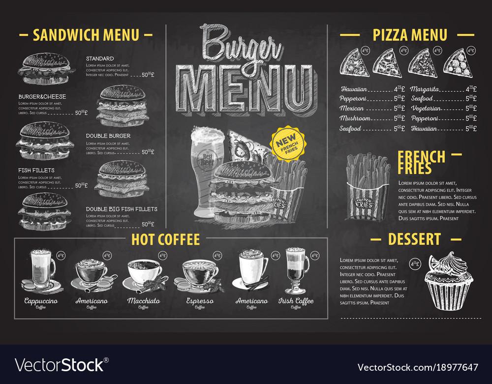 Vintage chalk drawing burger menu design fast