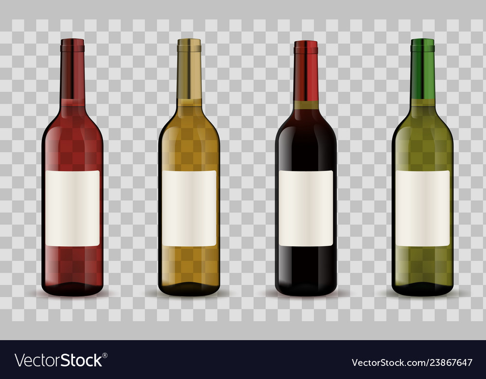 Wine bottles isolated on transparent background