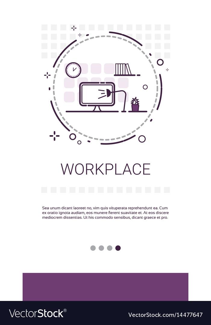 Workplace desk computer workspace office banner