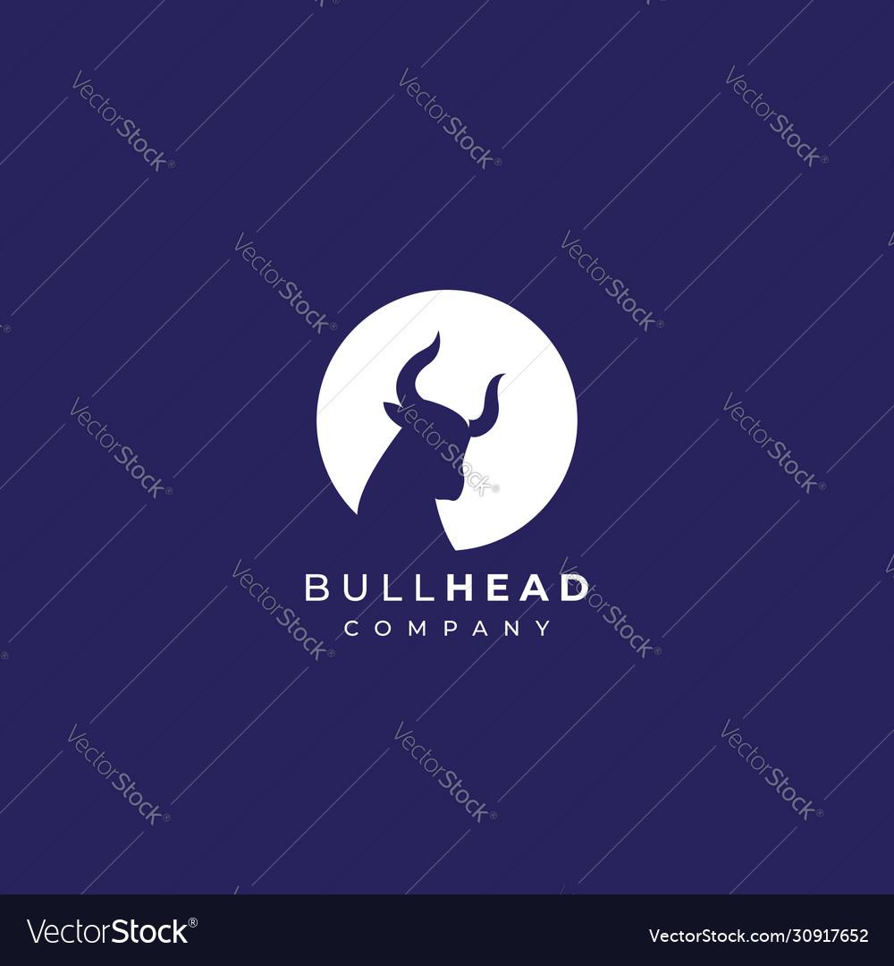 Abstract clean bull head logo design bull head