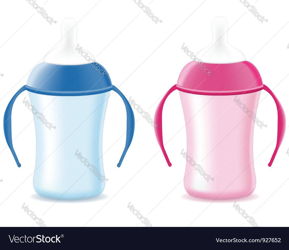 Baby bottle feeding vector image
