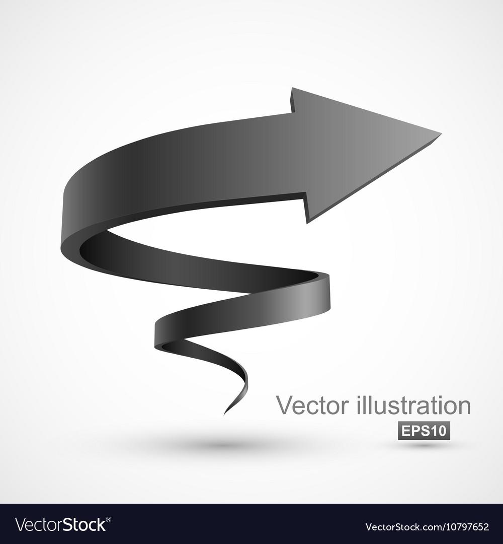 Black spiral arrow vector image