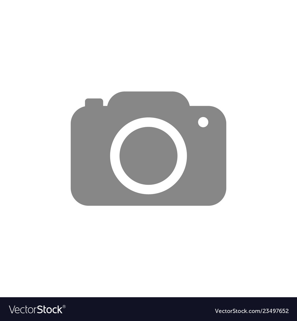Camera icon in trendy flat style isolated on grey