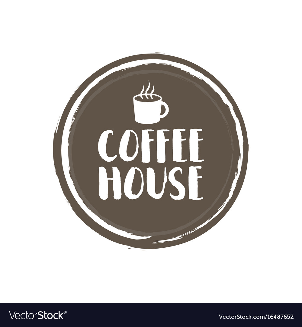Coffe house letters and cup grunge circle
