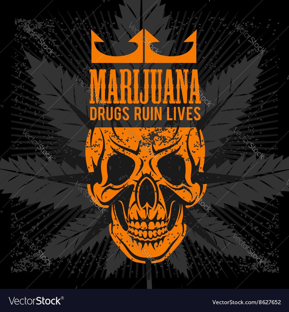 Marijuana Skull on grunge background for