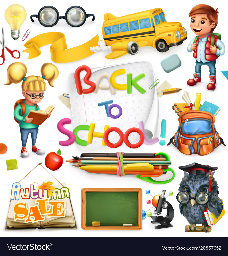 School and education back to school 3d icon set