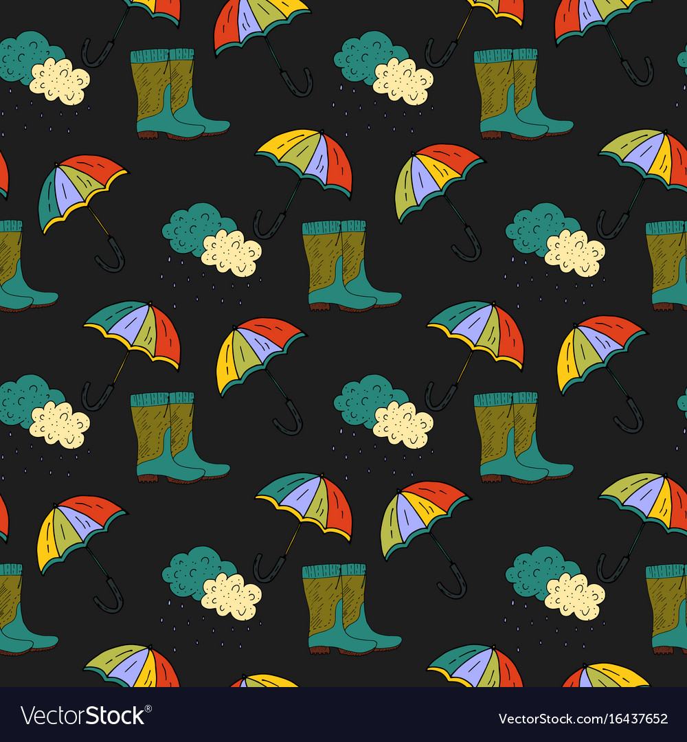 Seamless autumn pattern with umbrella and vector image