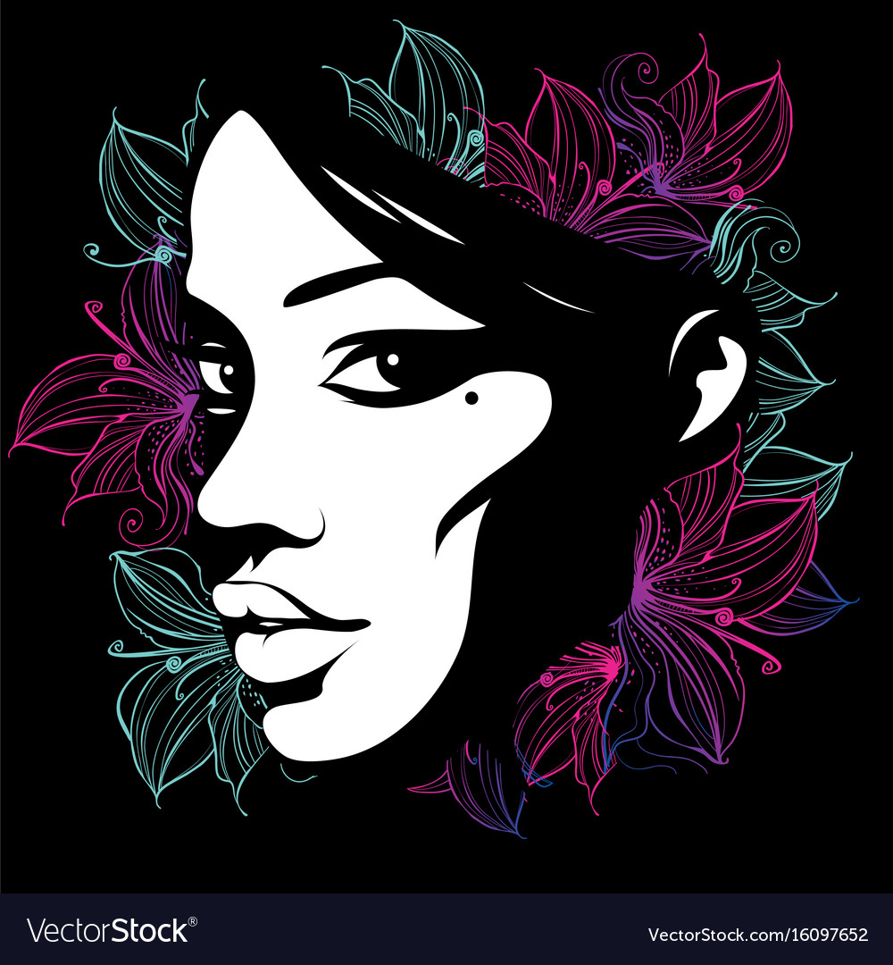 Silhouette of a female face decorated with flowers