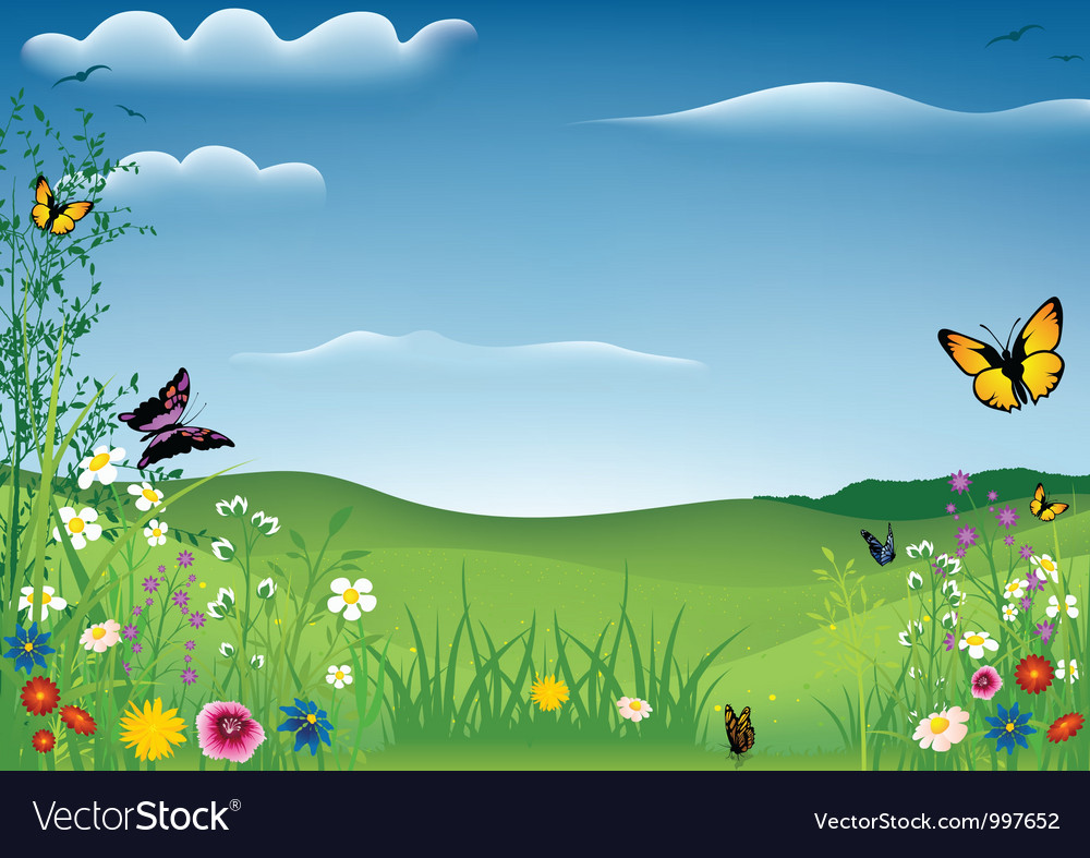 Spring Landscape with Butterflies vector image