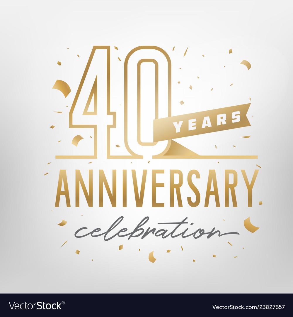 40th anniversary celebration golden template