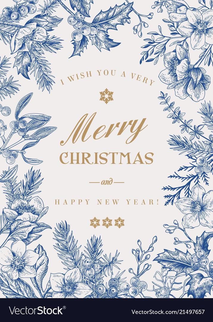 Christmas botanical card