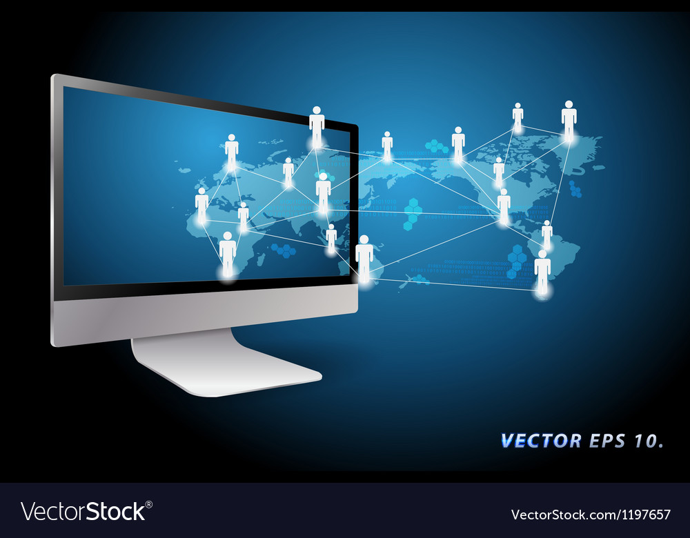 Communication in global computer networks vector image