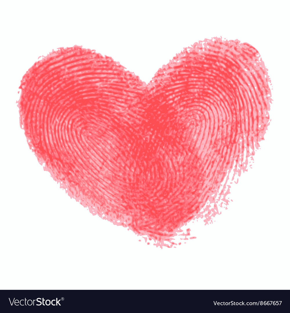 Creative poster with double fingerprint heart