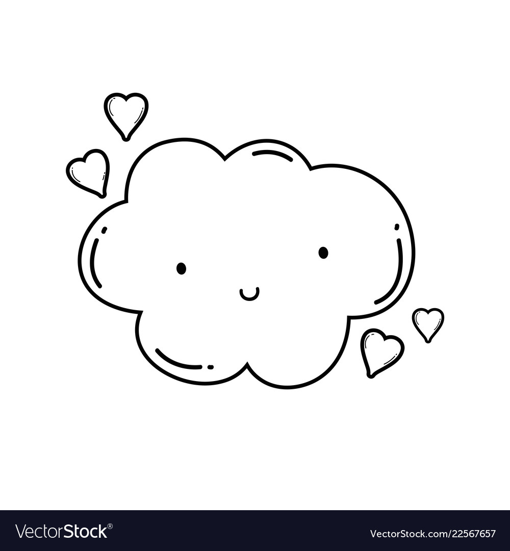 Cute Cloud Cartoon In Black And White Royalty Free Vector