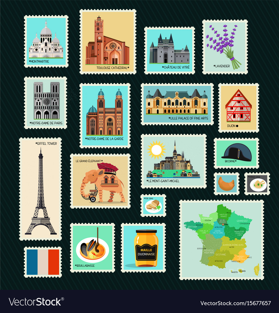 France travel stamps