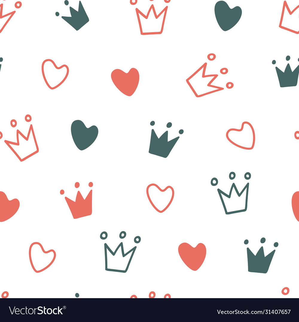 Hand drawn seamless pattern with doodle crowns