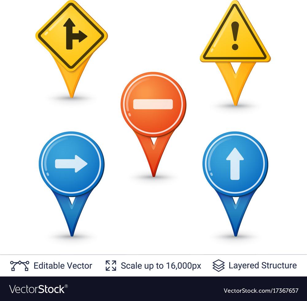 Road sign pins set