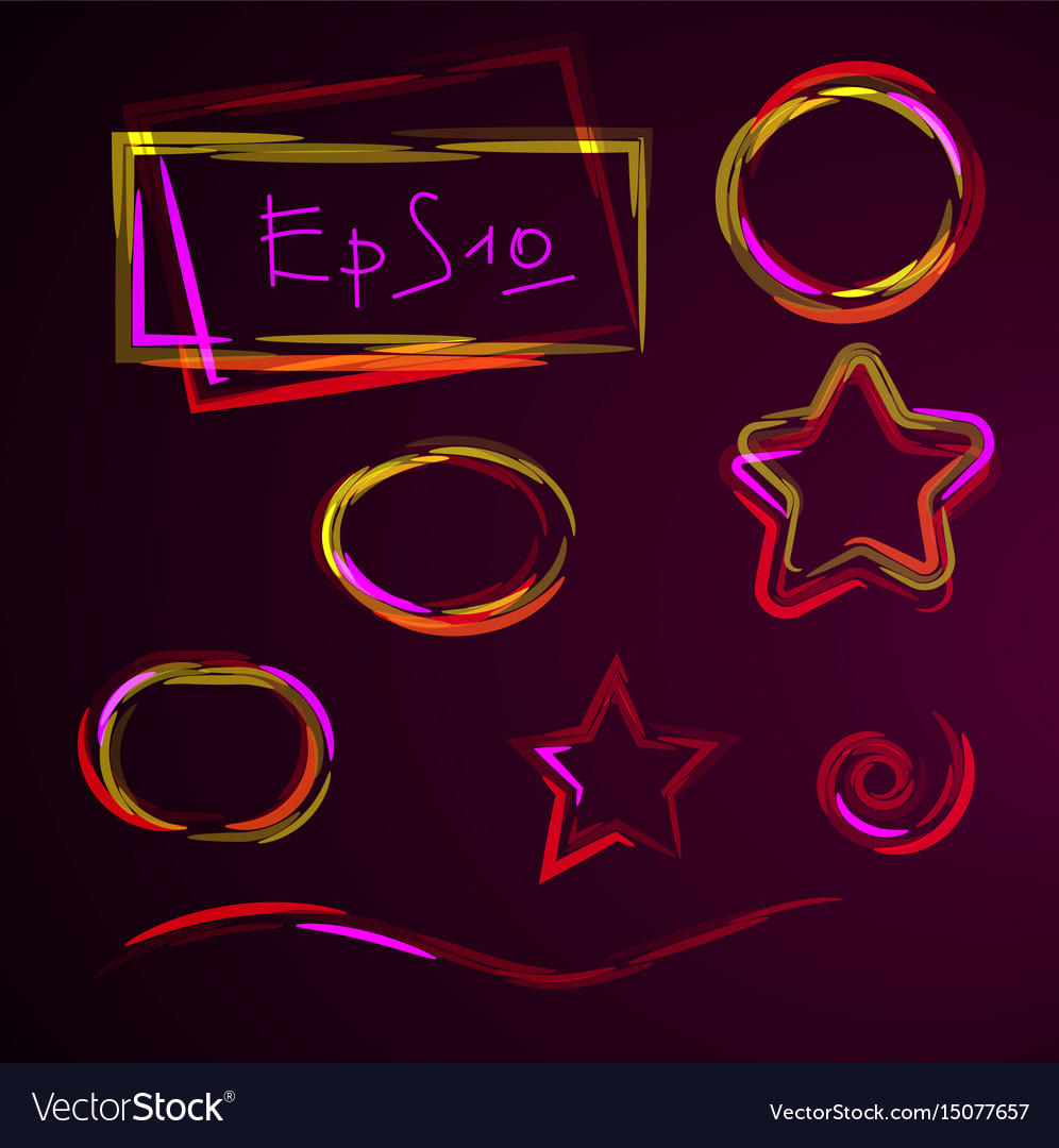 Set of geometric shapes neon design element