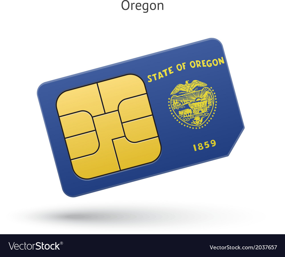 State of Oregon phone sim card with flag